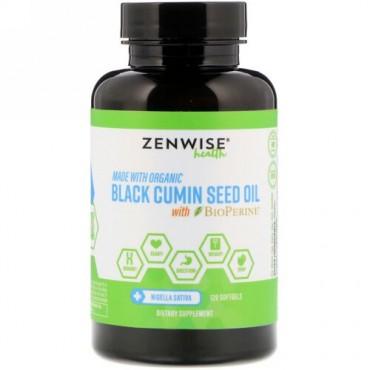 Zenwise Health, オーガニック、ブラッククミンシードオイル、バイオペリン配合、ソフトジェル120個 (Discontinued Item)