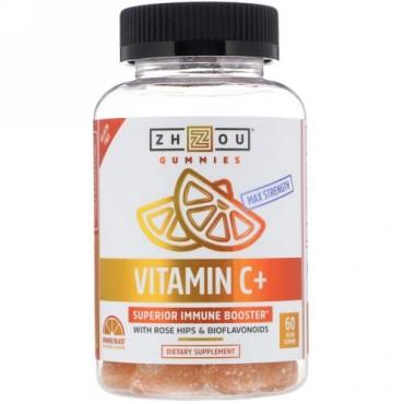 Zhou Nutrition, 最強ビタミンC +スーペリア免疫ブースター、オレンジブラスト、ビーガングミ60粒 (Discontinued Item)