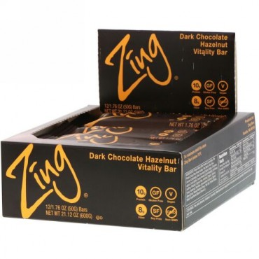 Zing Bars, Vitality Bar, Dark Chocolate Hazelnut, 12 Bars, 1.76 oz (50 g) Each (Discontinued Item)