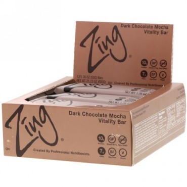 Zing Bars, Vitality Bar, Dark Chocolate Mocha, 12 Bars, 1.76 oz (50 g) Each (Discontinued Item)