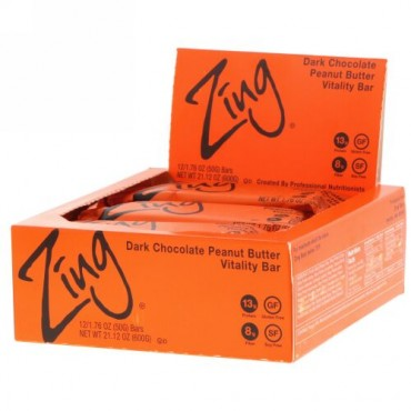 Zing Bars, Vitality Bar, Dark Chocolate Peanut Butter, 12 Bars, 1.76 oz (50 g) Each (Discontinued Item)