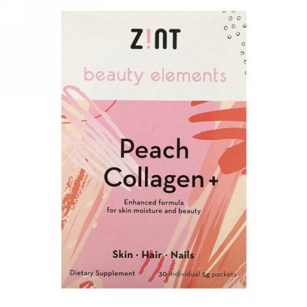 Zint, ピーチコラーゲン、 +、30個別パケット、各5 g
