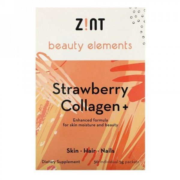 Zint, ストロベリーコラーゲン +、30個別パケット、各5 g (Discontinued Item)
