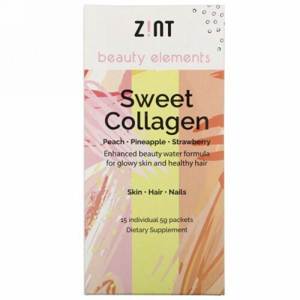 Zint, スイートコラーゲン、ピーチ、パイナップル、ストロベリー、個別パック15セット、各5 g
