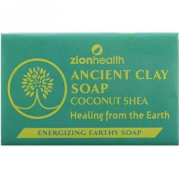 Zion Health, 古代のクレイ石鹸、栄養豊富で土の香りのする石鹸、ココナッツシア、6 oz (170 g) (Discontinued Item)