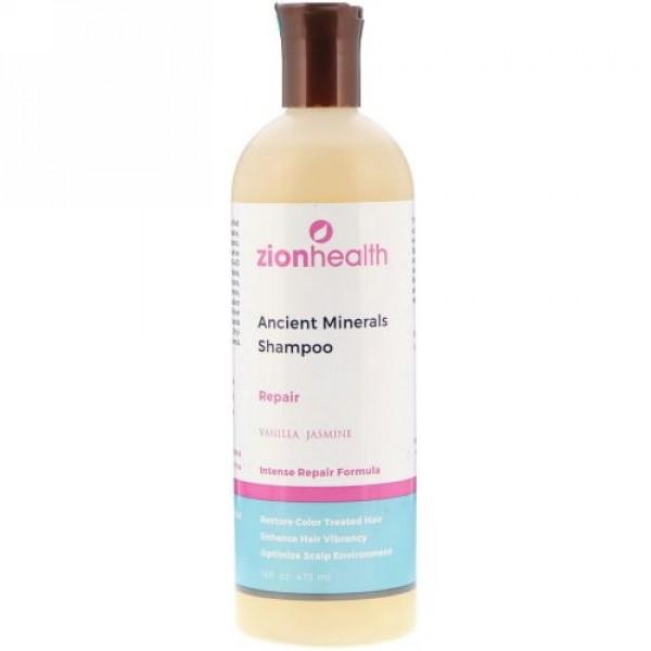 Zion Health, 古代ミネラルシャンプー、修復、バニラジャスミン、16 fl oz (473 ml) (Discontinued Item)