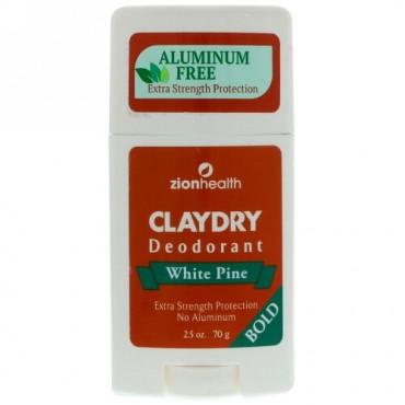 Zion Health, Clay Dry Deodorant, White Pine, Bold, 2.5 oz (70 g) (Discontinued Item)