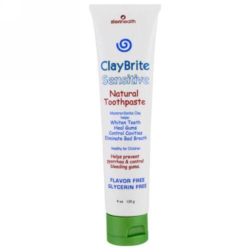 Zion Health, ClayBrite、知覚過敏用の自然の歯磨き粉、4 oz (120 g) (Discontinued Item)