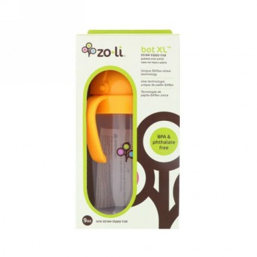 Zoli, Bot XL, Straw Sippy Cup, Orange, 9 oz (Discontinued Item)