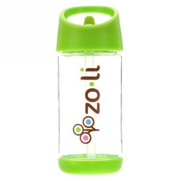 Zoli, Squeak、ストロー付きウォーターボトル、グリーン、12オンス (Discontinued Item)
