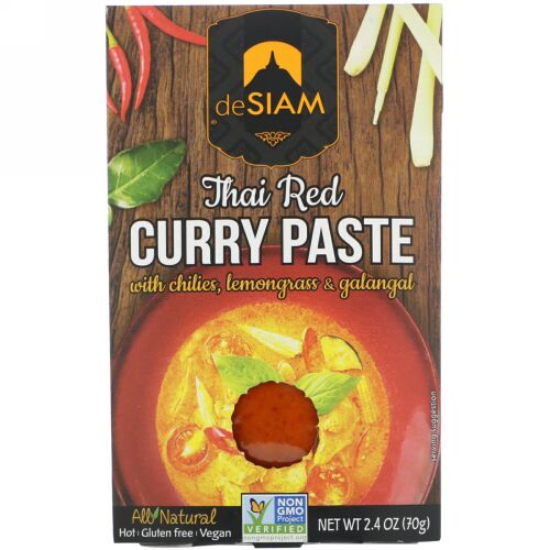 deSIAM, タイ・レッドカレーペースト、 辛口、 2.4 オンス (70 g) (Discontinued Item)